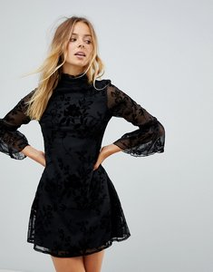 Read more about Parisian high neck floral lace dress with flare sleeve - black