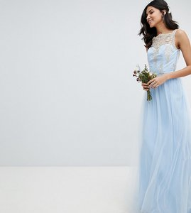 Read more about Chi chi london tall bardot neck sleeveless maxi dress with premium lace and tulle skirt - bluebell g