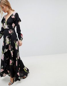 Read more about Asos pretty floral maxi ruffle wrap dress - multi