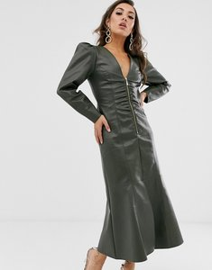 Read more about Asos design leather look zip through midi dress with pephem