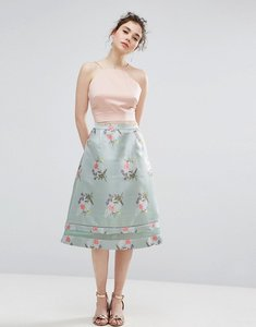 Read more about Oasis floral jacquard midi skater skirt - green
