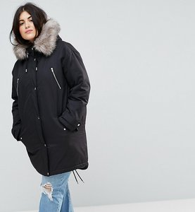 Read more about Asos curve parka with snow leopard faux fur liner - black