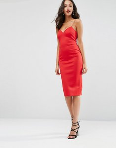Read more about Asos deep plunge scuba strappy midi dress - red