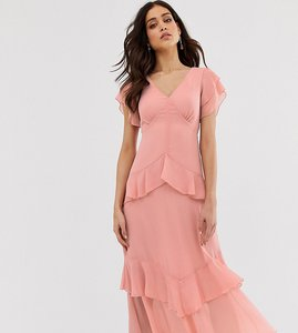 Read more about Warehouse tiered maxi dress with ruffles in pink