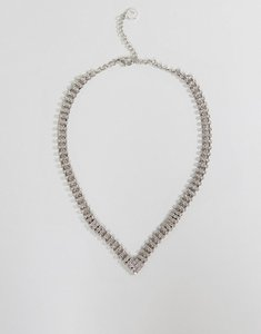 Read more about Johnny loves rosie chunky diamante v necklace - silver