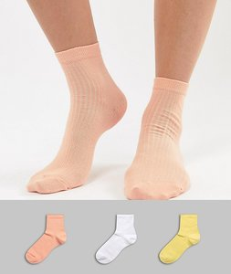 Read more about Asos design 3 pack rib ankle sock - multi