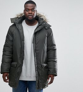 Read more about French connection plus parka with faux fur hood - green