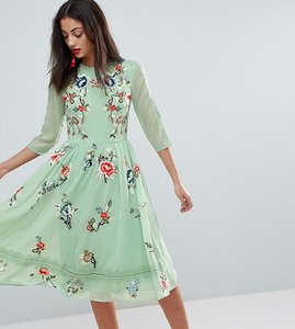 Read more about Asos tall premium midi skater dress with floral embroidery - multi