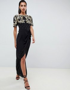 Read more about Virgos lounge baroque embellished maxi dress with frill wrap skirt in black - black