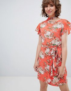 Read more about Walter baker frill front floral print tea dress - pink