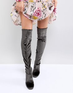 Read more about Miss selfridge velvet over the knee boot - charcoal
