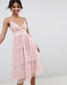 Read more about Asos design tiered tulle midi dress - nude