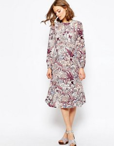 Read more about Asos printed column midi dress in floral print - multi