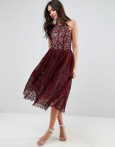 Read more about Asos lace pinny scallop edge prom midi dress - oxblood