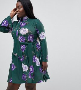 Read more about Club l plus high neck printed dress - green print