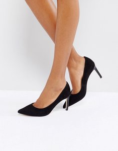 Read more about Dune pointed toe mid heel court shoe - black suede