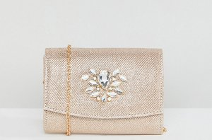 Read more about True decadence foldover metallic clutch with cross body strap - gold