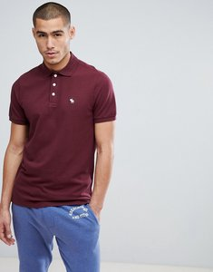 Read more about Abercrombie fitch stretch pique slim fit polo icon moose logo in burgundy - red