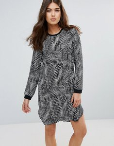 Read more about Pieces dolly long sleeved shift dress - blk brght print