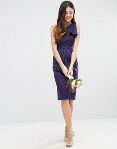 Read more about Asos wedding one shoulder structured bow dress - navy