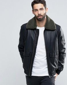 Read more about Asos faux leather jacket with borg collar in black - black