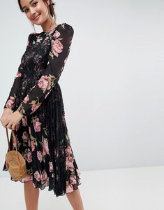 Read more about Asos floral insert midi dress with long sleeves - dark floral print