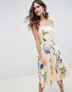 Read more about Asos design midi floral prom dress with square neck - multi