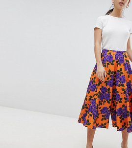 Read more about Asos petite wide leg culottes with flowing hem in orange floral print - floral