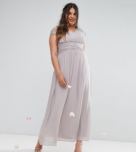 Read more about Tfnc wedding plus maxi dress with embellished cold shoulder - grey