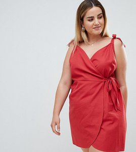 Read more about Asos design curve linen bow tie side wrap mini sundress - red