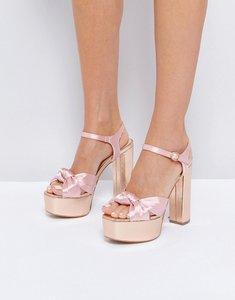 Read more about Glamorous knot mega platform heeled sandals - pink rose gold