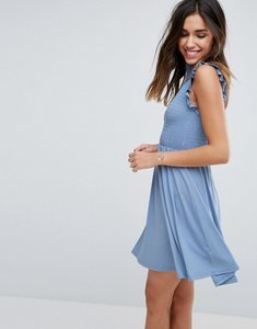 Read more about Asos mini skater dress with shirring panel - duck egg blue