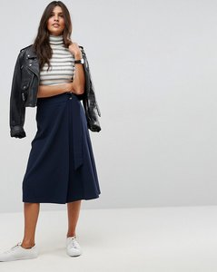 Read more about Asos tailored midi skirt with pleat and solid detail - navy