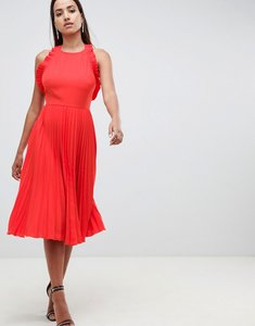 Read more about Asos design pleated midi dress with ruffle open back - red