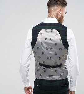 Read more about Noose monkey super skinny suit waistcoat in check - dark green