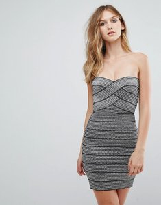 Read more about Qed london strapless metallic bodycon dress - silver