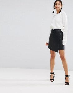 Read more about Warehouse leather look wrap front skirt - black