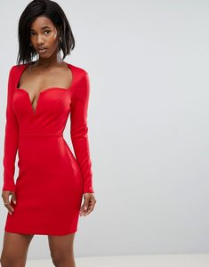 Read more about Club l long sleeve scuba boned detailed pencil dress - red
