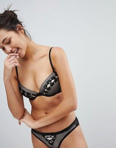 Read more about New look fishnet and eyelet push up bra - black