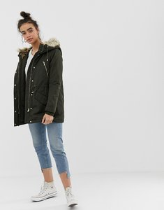 Read more about Only leonora longline parka coat with faux fur trim - grape leaf