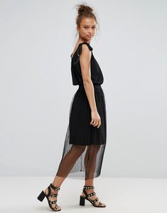 Read more about B young pleated sheer skirt - black
