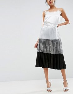 Read more about Asos colourblock metallic pleated midi skirt - multi