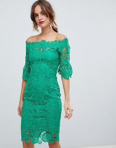 Read more about Paper dolls off shoulder crochet midi dress with frill sleeve in emerald green