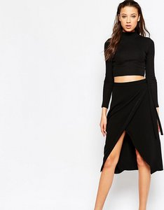 Read more about Asos tall wrap midi skirt - black