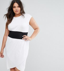 Read more about Asos curve corset waist detail midi t-shirt dress - white black