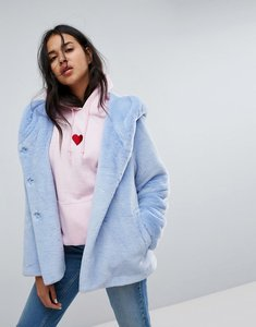 Read more about Asos faux fur coat with hood - blue