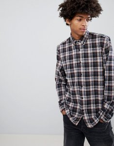 Read more about Asos design regular fit textured check shirt - grey