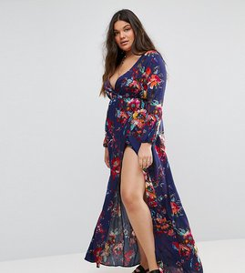 Read more about Club l plus long sleeve floral printed purple maxi dress - purple floral