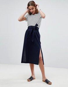 Read more about Asos tailored linen paperbag waist split side midi pencil skirt - navy