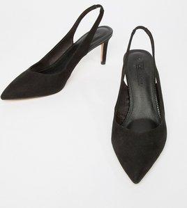Read more about Asos design sebastian slingback mid heels - black